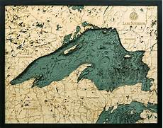Trout Lake Depth Chart Custom Wood Charts Of Lake Superior From Carved Lake Art