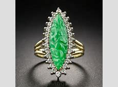 Carved Navette Shape Jade and Diamond Ring
