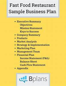 Restaurant Business Plan Examples Fast Food Restaurant Sample Business Plan