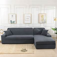 grey stretch elastic sofa cover solid non slip soft
