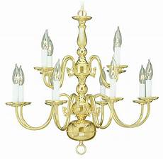 Candle Style Light Fixture 12 Light Polished Brass Chandelier Hanging Candle Lamp