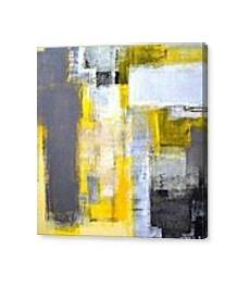 busy busy grey and yellow abstract painting painting