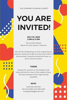Party Invitation Card Template 15 Email Invitation Template Free Sample Example