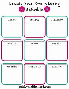 Make Your Own School Schedule Make Your Own Cleaning Schedule For The Working