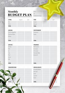 Monthly Plan Template Download Printable Two Pages Monthly Budget Plan Pdf