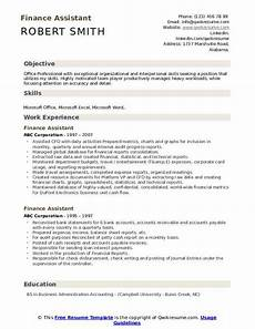 Finance Assistant Cv Sample Finance Assistant Resume Samples Qwikresume