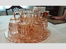 Antique cut or impression glass serving set with six