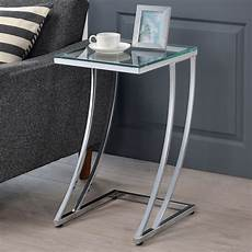 modern design tempered glass top chrome metal base accent