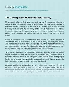 Essay Family Values The Development Of Personal Values Free Essay Example