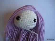 how to attach hair on amigurumi dolls