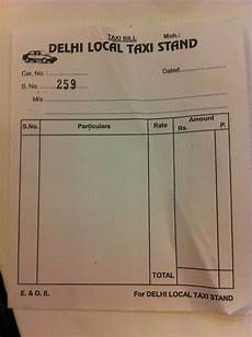 Sample Taxi Bill Format India Blank Forms And Full Drivers Delhi Encounters