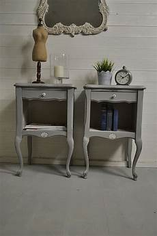 pair of grey shabby chic bedside tables free uk