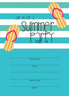 Party Invitation Card Template Mckissick Creations Summer Party Invitation Free Printable