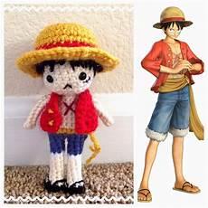 monkey d luffy one amigurumi crochet doll