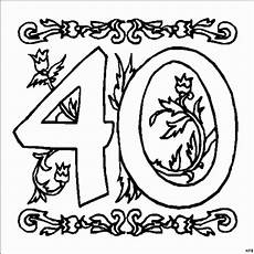 zahl 40 mit ornamenten ausmalbild malvorlage zahlen