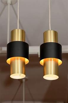Modern Cylinder Pendant Light Pair Of Danish Modern Cylindrical Brass Pendant Lamps