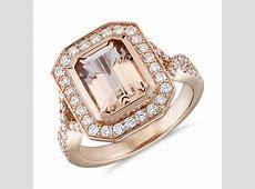 Emerald Cut Morganite and Diamond Split Shank Ring in 18k