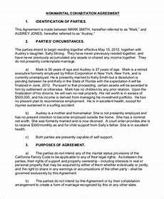 Cohabitation Agreement Sample Free 8 Sample Cohabitation Agreement Templates In Pdf