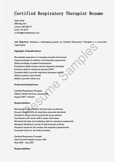 Sample Respiratory Therapy Resume Resume Samples Certified Respiratory Therapist Resume Sample
