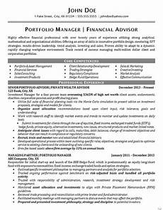 Portfolio Cv Examples Portfolio Manager Resume Example Financial Advisor