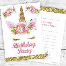 Pink Party Invitations Unicorn Girls Party Invitations Pink And Gold Glitter
