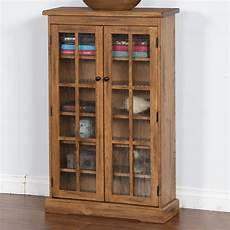 rustic oak cd cabinet with rainfall glass doors by