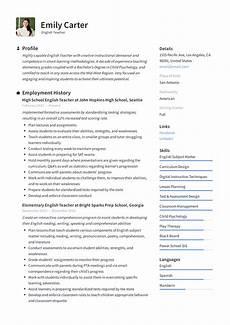Writing A Teaching Resume English Teacher Resume Amp Writing Guide 12 Free Templates