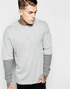 oversized sleeve tshirt asos oversized sleeve t shirt with waffle
