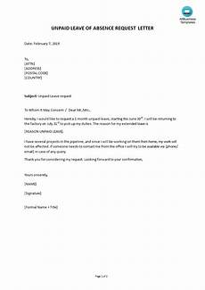 Letter Of Absence Unpaid Leave Of Absence Letter Templates At