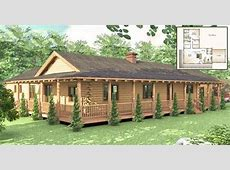 One Story Log House With Wrap Around Porch   Log Homes Lifestyle