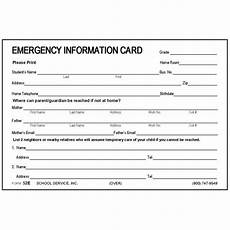 Student Information Card Template 52e Large Emergency Information Card 4 X 6 Size