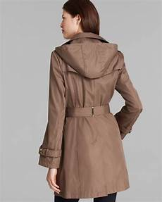 hooded trench coats for calvin klein trench coat hooded belted in brown lyst