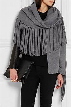 burberry fringed wool blend felt scarf