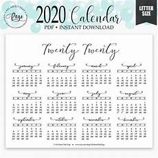 At A Glance 2020 2020 2021 Year At A Glance Calendar Printable Simple