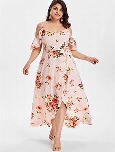 sleeve floral dress straps wipalo plus size cold shoulder belt overlap floral print