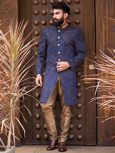 navy blue velvet embroidered indo westen sherwani men s