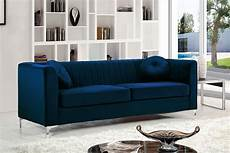 meridian furniture 615 navy velvet tufted chrome