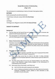 Samples Of Memorandum Memorandum Of Understanding Sample Lawpath