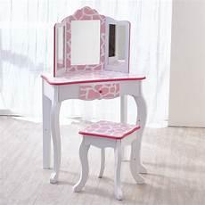 teamson fashion prints vanity set with mirror in pink