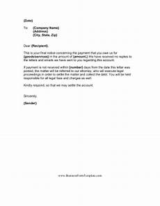 Letter For Final Payment Final Demand For Payment Template