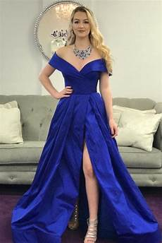 the shoulder royal blue prom dress with