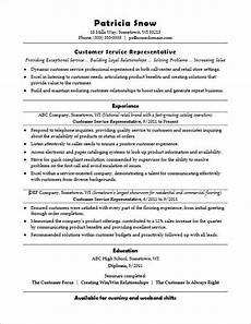 Customer Service Representative Tips This Sample Resume For An Entry Level Customer Service