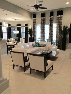 florida contemporary space with banded custom silk drapery