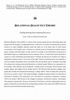 Relational Dialectics Pdf Relational Dialectics Theory Crafting Meaning From