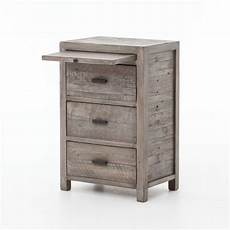 caminito grey reclaimed wood 3 drawers bedside cabinet