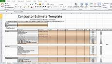 Construction Bid Template Free Excel Free Contractor Estimate Template Excel Excel Tmp