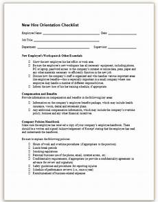 Sample New Hire Orientation Checklist This Sample Checklist Guides A Manager Through Conducting