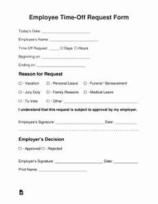 Employee Time Off Request Form Employee Time Off Vacation Request Form Eforms Free