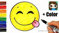 Easy Emoji Art How To Draw A Silly Happy Face Emoji With Coloring Easy