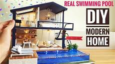 diy miniature modern home with real swimming pool